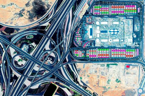 Mall of Qatar at the Rawdat Rashed Interchange, Al Rayyan, Qatar. From the cover of Log 47: Overcoming Carbon Form. Photo: Maxar Technologies.